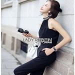 Black Crepe Jumpsuit Lady Ribbon จั้มป์สูทสีดำ