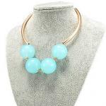 w1374 - สร้อยหิน สร้อยคอ สร้อยหินนำโชค เครื่องประดับ green round crystal beaded necklace