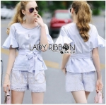 Lady Ribbon Online ขายส่งเสื้อผ้าออนไลน์ Lady Ribbon พร้อมส่ง LR05040816 &#x1F380 Lady Ribbon's Made &#x1F380 Lady Zara Lilac Embroidered Ribbon Top