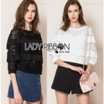 Lady ribbon Mina Layered Pleat and Lace Jumper