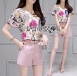 Lady Ribbon Online ขายส่ง เสื้อผ้าออนไลน์ ของแท้ ราคาถูกพร้อมส่ง เลดี้ริบบอน LR05140716 &#x1F380 Lady Ribbon's Made &#x1F380 Lady Leslie Playful Chic Painting Printed Top and Shorts