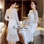 Lady Ribbon Online เสื้อผ้าแฟชั่นออนไลน์ขายส่ง เลดี้ริบบอนของแท้พร้อมส่ง Veryverypreppy เสื้อผ้า VP04240716 Luxury Floral Embroidery White Lace Dress
