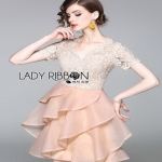 Lady Ribbon Layered Old-Rose Silk Dress ขายส่งเดรสผ้า