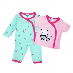 ขายส่งเสื้อผ้าเด็ก ชุดนอน 3 ชิ้น ปักลายหมีแพนด้าน่ารัก Size 3, 6, 9 เดือน