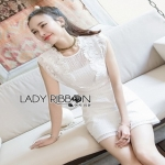 Lady Ribbon White Lace Mini Dress มินิเดรส