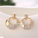 AU2323 - ต่างหูทอง ตุ้มหูทอง ตุ้มหู ต่างหู ต่างหูทองคำ เครื่องประดับ Korean earrings gold-plated high-grade alloy earrings round diamond earrings shine