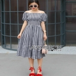 Lady Ribbon Country Style Check Cotton Dress เดรสผ้าคอตตอน