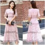 Lady Ribbon Online ขายส่งเสื้อผ้าออนไลน์ Lady Ribbon พร้อมส่ง LR18040816 &#x1F380 Lady Ribbon's Made &#x1F380 Lady Carly Feminine Pinky Striped Lace Maxi Dress เดรสยาวผ้าลูกไม้สี
