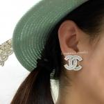 Chanel Earring & Brooch เกรดจิวเวอรี่ เพชร CZ แท้ ตัวเรือนสีเงินชุบ 18KGP ไม่ลอกไม่ดำ