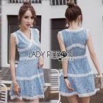 Lady Ribbon Online ขายส่งเสื้อผ้าออนไลน์ ขายส่งของแท้พร้อมส่ง Lady Ribbon LR10250716 &#x1F380 Lady Ribbon's Made &#x1F380 Lady Ariana Sweet Feminine White and Blue Lace Dress