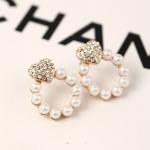 C275 - ต่างหูแฟชั่น ต่างหูหนีบ ต่างหูเกาหลี ตุ้มหูแฟชั่น ตุ้มหู ต่างหู เครื่องประดับ pearl earrings peach heart-shaped diamond earrings