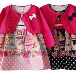 เสื้อผ้าเด็กขายส่ง ชุด 3 ชิ้น ชุดกระโปรง พร้อมเสื้อคลุมผ้าคอตตอนเนื้อนุ่ม สวยน่ารัก Size 3/6, 6/9, 9/12 เดือน