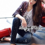 Lady Ribbon Online ขายส่งเสื้อผ้าออนไลน์ ขายส่งของแท้พร้อมส่ง Lady Ribbon LR17250716 &#x1F380 Lady Ribbon's Made &#x1F380 Lady Kim Skinny Jeans with Crystal Embellished