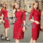 Lady Ribbon Online เสื้อผ้าแฟชั่นออนไลน์ขายส่ง เลดี้ริบบอนของแท้พร้อมส่ง Veryverypreppy เสื้อผ้า VP03240716 Luxurious Classic Floral Lace Dress