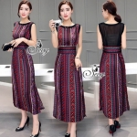 Lady Ribbon Online เสื้อผ้าแฟชั่นออนไลน์ขายส่ง เลดี้ริบบอนของแท้พร้อมส่ง sevy เสื้อผ้า SV03240716 &#x1F389Sevy Northern Silk Pattern Open Leg Maxi Dress