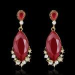 AH1723 - ต่างหูเพชร ตุ้มหูเพชร ตุ้มหู ต่างหู ต่างหูระย้า เครื่องประดับ retro geometric crystal earrings diamond earrings