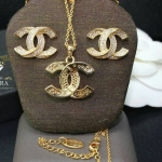 A~Dora ฺBrand Chanel Jewelry Sets 18K Gold Plated Stud Earrings and Necklace