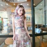 ชุดเดรสแฟชั่น เดรสเกาหลีMaxi dress ตัวยาวปักดอกไม้ ทั้งตัวจร้าแจนกุด