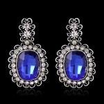 AH1747 - ต่างหูเพชร ตุ้มหูเพชร ตุ้มหู ต่างหู ต่างหูระย้า เครื่องประดับ retro gem diamond pendant earrings square alloy earrings
