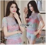 Lady Ribbon Online ขายส่ง เสื้อผ้าออนไลน์ ของแท้ ราคาถูกพร้อมส่ง เลดี้ริบบอน LR13140716 &#x1F380 Lady Ribbon's Made &#x1F380 Lady Rachel Rainbow Pastel Striped Lace Set