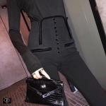 กางเกงแฟชั่นสกินนี่ขายาวเอวสูงขาเดฟแต่งขอบเอวคลอเซ้ตกำมะหยี่ดำกระดุมเล็ก