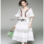 Lady Ribbon Lace and Cotton Maxi Dress เดรสยาว