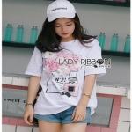 White CHANEL T-Shirt Lady Ribbon ทีเชิ้ตสีขาว