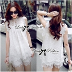 Lady Ribbon Online ขายส่งเสื้อผ้าออนไลน์ Lady Ribbon พร้อมส่ง LR11040816 &#x1F380Lady Ribbon's Made&#x1F380Lady Blaire Pretty Sweet Floral White Lace Ensemble Set
