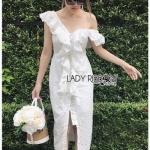 Elegant Middle Lady Ribbon Cotton Dress