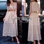 Lady Ribbon Crepe Maxi Dress เดรสผ้าลูกไม้