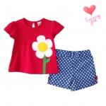 เสื้อผ้าเด็กขายส่ง ชุดเด็กหญิงกางเกงขาสั้น เสื้อปักดอกไม้สวยหวาน Size 2, 3, 4 ขวบ