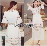 Lady Ribbon Online ขายส่งเสื้อผ้าออนไลน์เลดี้ริบบอน LR22010816 &#x1F380 Lady Ribbon's Made &#x1F380 Lady Abigail Hippie Holiday Floral Embroidered Lace and Cotton Maxi Dress