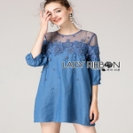 Denim Lady Ribbon Mini Dress มินิเดรส