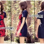 Lady Ribbon Online เสื้อผ้าออนไลน์ขายส่ง lady ribbon เสื้อผ้า LR16150816 Red Roses Embroidered Mini Dress มินิเดรสปักลายดอกกุหลาบสีแดง
