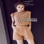 Lady Ribbon Baby Pink Lace Set ขายเซ็ตเสื้อคร็อป