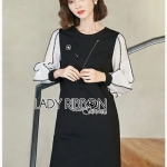 Sleeve Black T-Shirt Lady Ribbon Dress