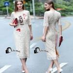 เสื้อผ้าแฟชั่นเกาหลีCliona Cat Lace Long Dress - เดรสลูกไม้สีครีม