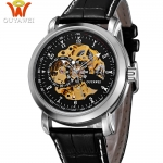 OUYAWEI - OYW13-06-1: นาฬิกาข้อมือออโตเมติคแบบเปลือย หน้าปัดดำ สายหนังแท้