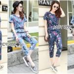 Lady Ribbon Online เสื้อผ้าออนไลน์ ขายส่งของแท้ราคาถููก LR16110716 &#x1F380 Lady Ribbon's Made &#x1F380 Lady Taylor Street Chic Fashionable Printed Soft Denim Set