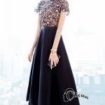 Long dress ลูกไม้ช่วงตัวบน ขาวดำ ซับในสีเนื้อรูปสามเหลี่ยมคว่ำคล้ายคล้องคอ
