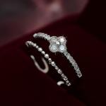 AK1869 - แหวนเพชร,แหวนเงิน,แหวน,แหวนคู่รัก,เครื่องประดับ Ring Lucky Clover Korean version of the new Micro Pave zircon double flash diamond ring