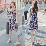 Lady Ribbon ออนไลน์ เสื้อผ้าออนไลน์ พร้อมส่งของแท้ SV05130716 &#x1F389Sevy Printed Flora Hollow Shoulder Straps Sleeveless Mini Dress