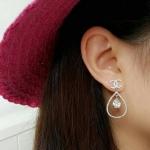 Chanel Earring เพชรสวยวิ้งละเอียด ไซส์ medium ตัวเรือนสีเงิน ชุบ 18KGP สินค้า Made in Korea