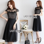 Lady Ribbon Lace and Cotton Midi Dress