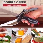 Clever Cutter มีดและกรรไกรพร้อมเขียง แบบ 2 in 1 มีดสเตนเลสเกรดพรีเมี่ยม ตัด สไลด์ ผัก ผลไม้ เนื้อ เนย