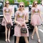 Lady Ribbon Online เสื้อผ้าออนไลน์ ขายส่ง normal ของแท้ NA13140716 &#x1F389Normal Ally Present embroidered flower lace elegance dress&#x1F389 (เดรสลูกไม้งานปัก , ซับในอย่างดีทั้งชุด)