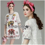 Lady Ribbon Online ขายส่งเสื้อผ้าออนไลน์ Lady Ribbon พร้อมส่ง LR12040816 &#x1F380 Lady Ribbon's Made &#x1F380 Lady Mia Imaginary Tiger Embroidered White Lace Dress