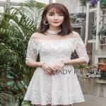 Lady Ribbon Sara White Lace Dress ขายเดรส