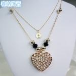 G736 - สร้อยคอแฟชั่น,สร้อยคอ,สร้อยแฟชั่น,เครื่องประดับ multilayer diamond pendant long necklace of hearts