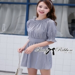 Striped Cotton Dress Lady Ribbon เดรสผ้า